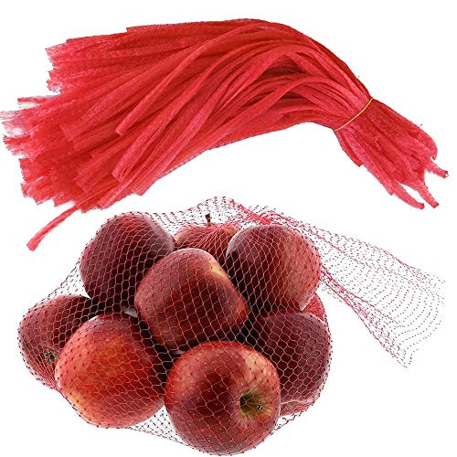 100 PCS Reusable Produce Single Drawstring Mesh Bag / Eco Friendly Plastic Storage Net Bags 24 IN for Grocery Shopping & Storage of Fruit Vegetable Seadfood & Garden Produce