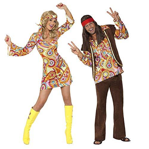 Smiffys Costume da Hippy anni '60, multi-colorato con abito e copricapo, Modelli/Colori Assortiti, 1 Pezzo