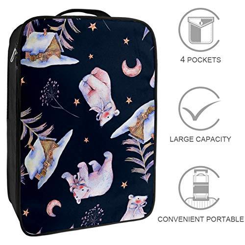 HANDIYA - Bolsas de zapatos de viaje con cierre de cremallera, diseño de ovejas rosas y globos de aire y nubes, se ajustan a la talla 11, color Bonito bosque mágico de osos polares., tamaño 6 x 9 x 12 inch