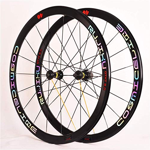 CHP Fahrrad Wheelset 700c Racing Straßen-Fahrrad Bunte Version Legierung Double Wall Rim 40mm 8-11 Geschwindigkeit 5 Palin Bearing Carbon Fiber Hub Quick Release V- Bremse (Color : D- Wheel Set)