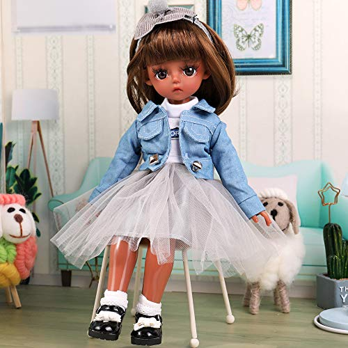 UCanaan BJD Doll, 1/6 SD Black Dolls 12 Inch 18 Ball Jointed Doll DIY Toys with Full Set Clothes Shoes Wig Makeup, Best Gift for Girls-Xinyi