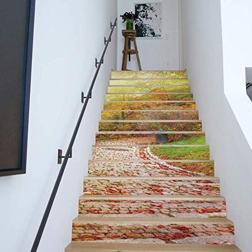 LIZHIOO Treppenaufkleber Herbstlaub 3D Aufkleber Treppe Entfernbare wasserdichte Aufkleber Wandaufkleber Dekorative Wandaufkleber 100 * 18cm