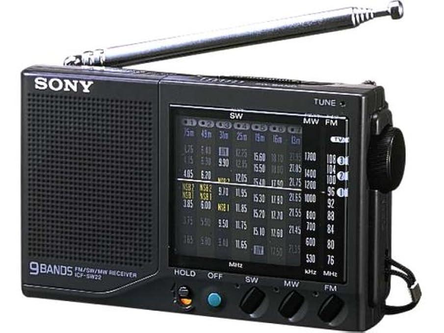 小間逆攻撃SONY ICF-SW22 FMラジオ (ブラック)