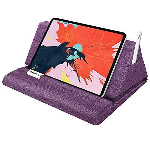 MoKo Tablet Pillow Stand, Soft Bed Pillow Holder Fits up to 11' Pad, Fit with iPad 10.2' 2019, New iPad Air 3, Mini 5, Ipad Pro 11 2018/10.5/9.7, Air Mini 1 2 3 4, Samsung Galaxy Tab, Purple