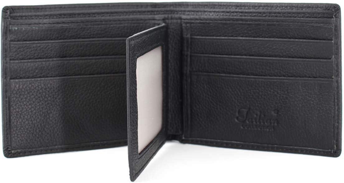 Real Leather Wallet Card Zipper Pocket Coin Purse Clutch Handbag Money Clip (Short-Black)