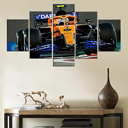 Mural Moderno 5 Piezas Coche Deportivo Amarillo De Fórmula Uno F1 Art Imagen para Decoración del Hogar 5 Piezas Pinturas Moderna Enmarcado Arte