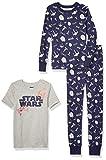 Spotted Zebra Boys' Kids Disney Marvel Snug-Fit Cotton Pajamas Sleepwear Sets, 3-Piece Star Wars Ships, XX-Large