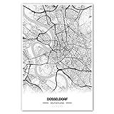 Zulumaps Poster 60x90cm Stadtplan Düsseldorf -