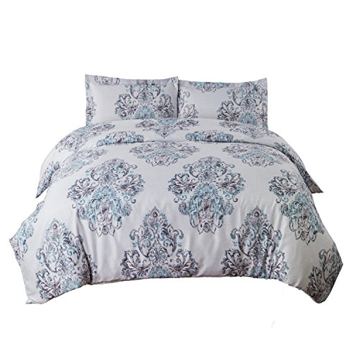 Bedsure Damask Duvet Cover Set with Zipper Bedding Set Print Grey Design,Full/Queen (90x90 inches)-3 Pieces (1 Duvet Cover + 2...