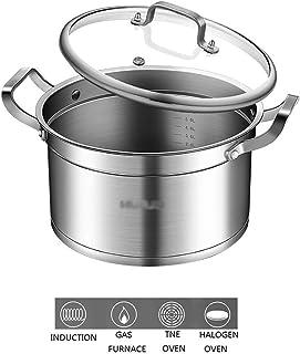 WQF Cacerola, Cacerola Grande Profunda de Acero Inoxidable para cocinar, Base de inducción con Tapa de Vidrio, Acero Inoxidable 304, Fondo de Cacerola compuesta, Disponible en Tres Tam