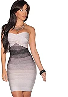 MAX Women Bandage Short Dresses Summer Casual Bodycon Strapless Sleeveless Package Hip Dress