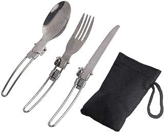 طقم ادوات قابل للطي 3 في 1 من الستانلس ستيل مكون من ملعقة وشوكة وسكين للاستخدام كادوات عشاء اثناء التخييم والنزهات وفي الس...