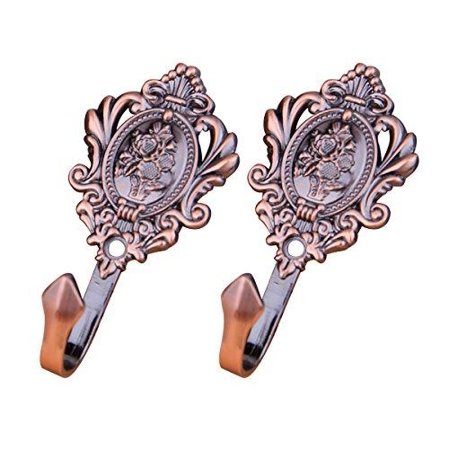 LIOOBO 1 Paar Vintage Gardinenhaken aus Zinklegierung Vorhang Raffhalter Rose Muster Vorhang Holdbacks (Antik Messing)