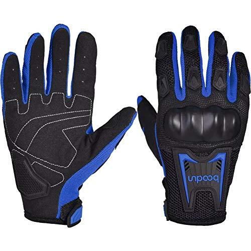Motorrad Handschuh Herren Sommer Vollfinger Motorradhandschuhe Touchscreen Motorcross Motorrad Handschuhe Männer(Blue,L)