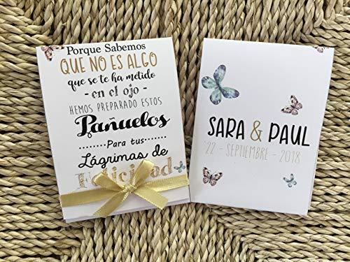 Lágrimas de Felicidad para Bodas con pañuelo de papel con lazo 50 unidades