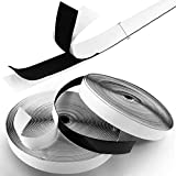Royalkart Hook & Loop Tape Roll Strips with Adhesive Back Mounting Tape for Picture & Tools Hanging Pedal Board Fastening (25m Hook + 25m Loop) Black Stick-On Tape (Black)