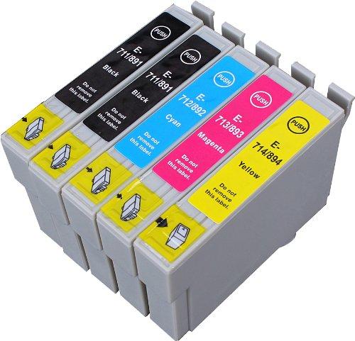 5 Multipack de alta capacidad Epson T0715 , T0895 Cartuchos Compatibles 2 negro, 1 ciano, 1 magenta, 1 amarillo para Epson Stylus D120, Stylus D78, Stylus D92, Stylus DX4000, Stylus DX4050, Stylus DX4400, Stylus DX4450, Stylus DX5000, Stylus DX5050, Stylus DX6000, Stylus DX6050, Stylus DX7000F, Stylus DX7400, Stylus DX7450, Stylus DX8400, Stylus DX8450, Stylus DX9400F, Stylus Office B40W, Stylus Office BX300F, Stylus Office BX310FN, Stylus Office BX600FW, Stylus Office BX610FW, Stylus S20, Stylus S21, Stylus SX100, Stylus SX105, Stylus SX110, Stylus SX115, Stylus SX200, Stylus SX205, Stylus SX210, Stylus SX215, Stylus SX218, Stylus SX400, Stylus SX405, Stylus SX405WiFi, Stylus SX410, Stylus SX415, Stylus SX510W, Stylus SX515W, Stylus SX600FW, Stylus SX610FW. Cartucho de tinta . T0711 , T0712 , T0713 , T0714 , T0891 , T0892 , T0893 , T0894 , TO711 , TO712 , TO713 , TO714 , TO891 , TO892 , TO893 , TO894  123 Cartucho