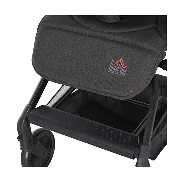 HOMCOM Lightweight Baby Stroller Pushchair Buggy Adjustable Reclinable Back Aluminum Frame, Five Point Harness, One Hand Foldable, Storage Basket, Suspension Wheels for 0-36 Months HOMCOM ✅ADJUSTABLE COMFORT: Adjustable seat back angle of 105°-170°, reclinable footrest can be adjusted in 3 gears, the adjustment angle is 31 °, 55 °, 78 °, retractable canopy provide personalized comfort and usability. ✅SAFE FEATURES: Four universal and impact absorbing wheels for smooth rolling, rear wheel with brakes for easy parking, as well as an adjustable five-point safety harness to keep them securely strapped in . ✅FOLDABLE & LIGHTWEIGHT: One-click opening and folding design, easy to put away when not needed, great for when you 're travelling by car. Safety guard is removable for less storage space. 7