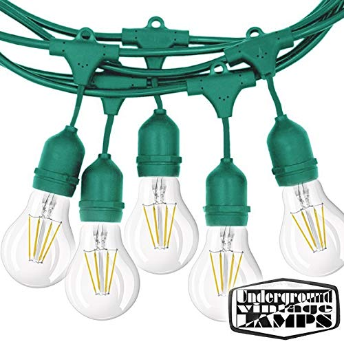 Lichtketting, inclusief kroonluchter, groen, 10 lamphouder, E27, 12,5 m, IP65, voor buiten, verlengbaar, waterdicht