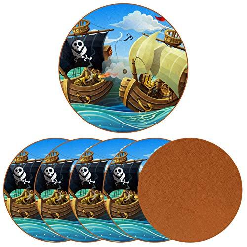 Juego de 6 posavasos de madera con diseño de la batalla del mar pirata de barcos para tazas, tazas de café, vino, vidrio de madera, protección de mesa, gran regalo de inauguración de la casa