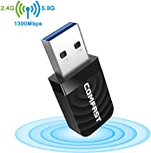 |Upgraded Version| WiFi Adapter USB Wireless Adapter High Power AC1300Mbps Dual-Band Wireless Network, 2.4G / 5.8G AC Built-in Antenna Network Card, Suitable for Desktop, USB3.0 Gigabit WiFi Adapt