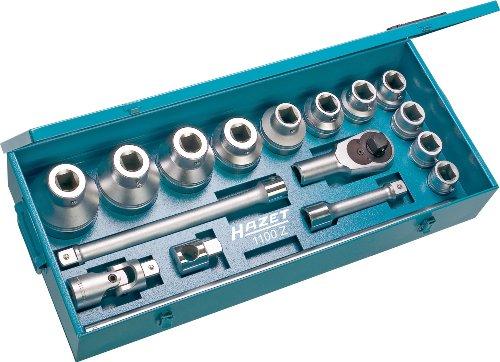 HAZET Jeu de clés à Douilles 1100Z ∙ Carré Creux 25 mm (1 Pouce) ∙ Profil à 12 pans extérieurs ∙ Nombre d'outils : 17, Multicolore