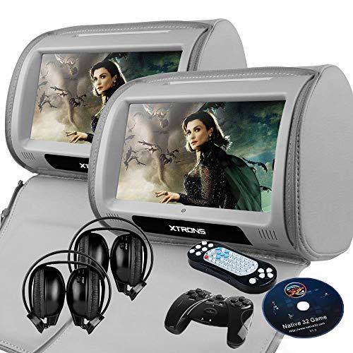 XTRONS Grey 2X Twin Car headrest DVD Player 9