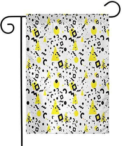 Eastlif Saison Jardin Drapeau Noir et Jaune Motifs Primitifs de Minimalisme Années 80 Années 90 Style Memphis Séchage Rapide Noir Jaune Blanc