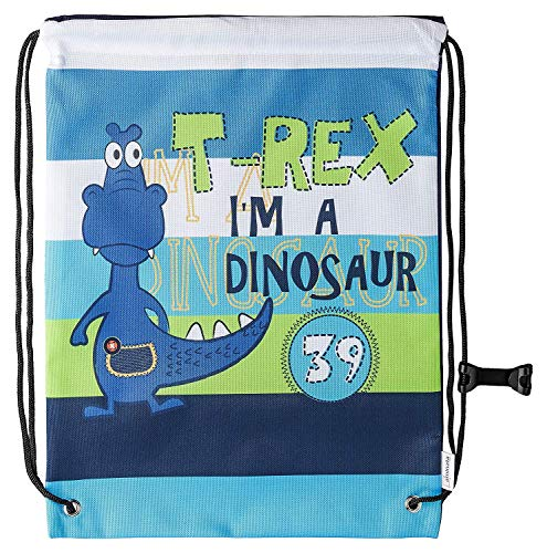 Aminata BALANCE Turnbeutel Kinder Jungen Dino-Motiv 34x43-cm Sport-Wäsche-Beutel für Kita aus Nylon, reflektierend & wasserabweisend Dinosaurier bunt gestreift