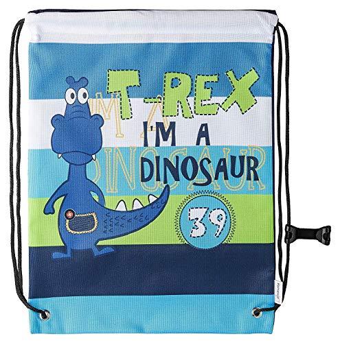 Aminata Kids Kinder-Turnbeutel Dinosaurier Dino 34-x-43-cm Jungen, Mädchen - blau, bunt - Nylon - Sicherheits-Reflektor, verstärkte Nähte, kein Chemiegeruch & rutscht Nicht durch Brustclip