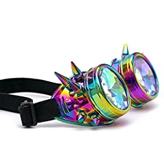 AMhomely Unisex Polarized Steampunk Sunglasses Diffracted Lens Vintage Retro Round Sunglasses Cyber Goggles Kaleidoscope Punk Hippy,Comfort Ideal for Cosplay,Fancy Dress Costumes (Multicolor) #2