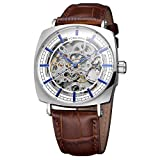 Forsining Men's Beautiful Skeleton Dial Automatic Self-Winding Watch Brand with Genuine Leather Strap
