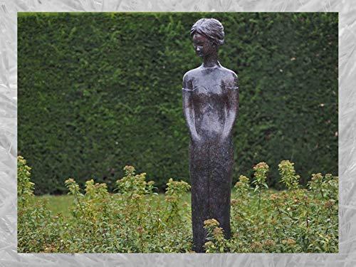 IDYL Escultura de bronce de mujer de pie, 167 x 30 x 37 cm, moderna figura de bronce hecha a mano, escultura de jardín – decoración de salón   artesanía de alta calidad   resistente a la intemperie