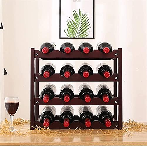 BGHDIDDDDD Novedad Wine Rack Estante de Vino Apilable de 4 Capas, Encimera de Madera Plegable, Gabinete de Alenamiento de Vino, Bodega, de Pie, para Bar, Bodega, Sótano, Despensa, Tiene Capacidad par