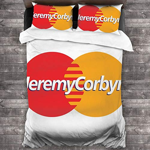 KUKHKU Jeremy Corbyn MasterCard Logo 3 Pieces Bedding Set Duvet Cover 86″x70″,Decorative 3 Piece Bedding Set with 2 Pillow Shams