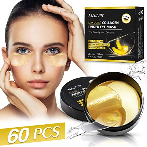 Under Eye Patches for Dark Circles Puffy Eyes,24K Gold Under Eye Mask with Anti-Wrinkle Anti-Aging Moisturizing,60PCS Under Eye Gel Pads with Collagen Hyaluronic Acid,Under Eye Bags Treatment