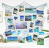 Marcos de exhibición Colgantes de la Foto,Decoraciones de la Pared de la Red de Pesca del mediterráneo con 30 Clips, Tarjetas de Imagen Organizador de Las Ilustraciones del Collage