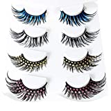 Ezolistic Fake Color Magnetic Eyelashes Set (4 pairs) - 3D Looking Reusable Eye Lashes Extension for Halloween and Cosplays, Costume Parties - Cruelty-Free False Eyelashes
