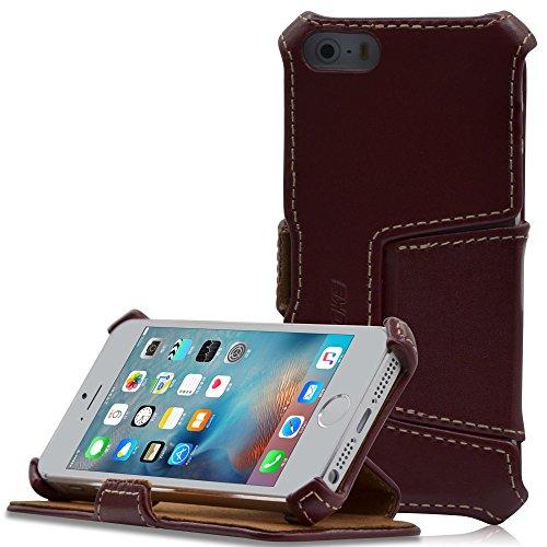 Manna iPhone SE Hülle, Lederhülle Tasche Handyhülle   Leder Hülle Cover   Etui Standfunktion für iPhone SE Hülle