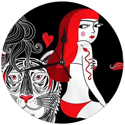 N/A decoratieve wandklok Big 9,8 inch portret van het mooie meisje in badpak met tijger op donkere grote ronde horloges