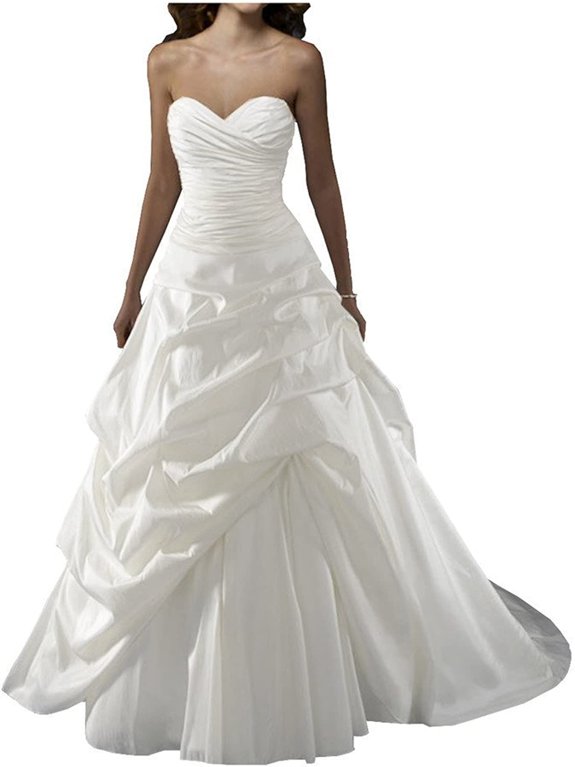 Angel Bride White Modest Taffeta Ruffled Ball Gown Strapless Wedding Dress