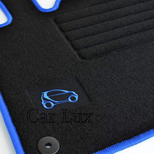 Car Lux AR02731 - Alfombras Alfombrillas a Medida para FORTWO 450 Edition hasta 2007- Ribete Azul