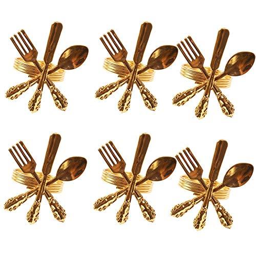 Fransande 6Er Pack Kreative Serviettenschnalle Gabel Messer L?Ffel Silber Serviettenringe Geschirr Serviettenhalter für Hochzeitsfeier Tischdekoration, Gold