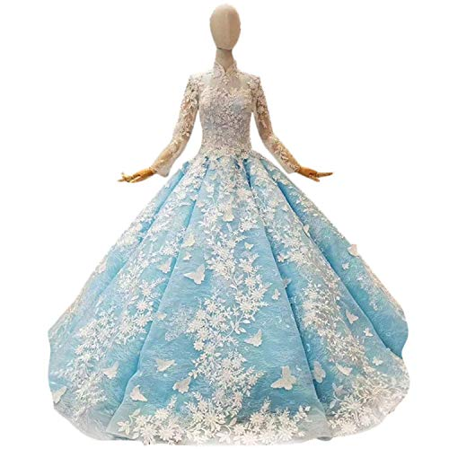 Elegant Dress Boda para Mujer, Cuello Alto Apliques de Encaje, Manga Larga, Banquete, Boda, Vestido de Novia Boda para Mujer, Boda de Novia para Novia, Azul, US SIZE-14