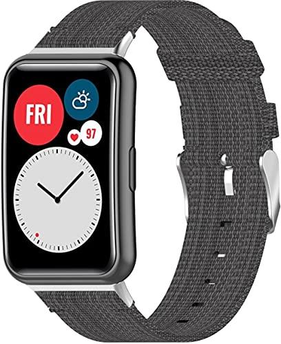 Correas para Relojes Nylon Compatible con Huawei Watch Fit/Huawei Fit, Correa de Reloj de NATO para Mujer y Hombre con Hebilla de Acero Inoxidable (Pattern 2)