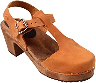 Lotta From Stockholm Swedish Highwood T-Bar Clogs in Brown Oiled on Brown Base