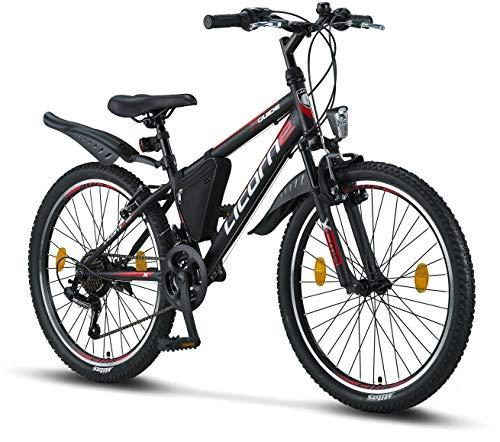 Licorne Bike Guide Bicicleta de montaña de 24 pulgadas, cambio Shimano de 21 velocidades, suspensión de horquilla, bicicleta infantil, bicicleta para niños y niñas, bolsa para cuadro,negro/rojo/gris