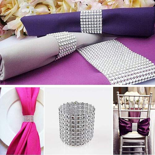 SKY CANDYBAR Napkin Rings Rhinestone Napkin Rings Adornment for Wedding Party Banquet Reception Catering (Silver)