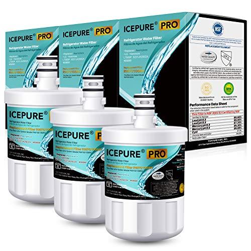 ICEPURE PRO NSF53&42 Premium 5231JA2002A Refrigerator Water Filter Replacement for LG LT500P, ADQ72910911, ADQ72910901 ADQ72910907, GEN11042FR-08, Kenmore 9890, 469890, LFX25973D, LFX25974ST 3PACK