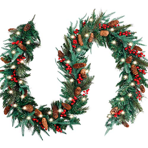 FUNARTY 9 Feet by 12 Inch Christmas Garland for Mantle with 50 Lights, Un-prelit Garlands for Christmas with Pinecones Red Berries for Winter Holiday Home Decor